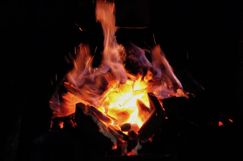 Le feu du barbecue